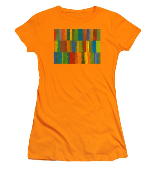 Women's T-Shirt (Junior Cut) featuring the painting Color Collage With Stripes by Michelle Calkins