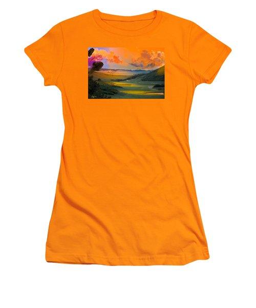 Colorado Big Valley Sunrise Women's T-Shirt (Junior Cut) by J Griff Griffin
