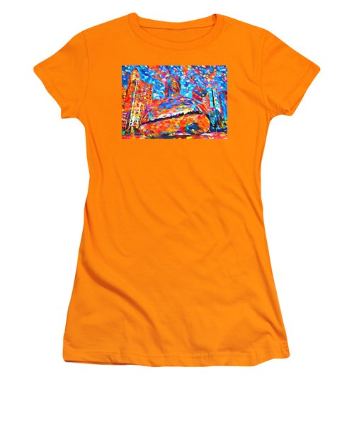 Women's T-Shirt (Junior Cut) featuring the painting Colorful Chicago Bean by Dan Sproul