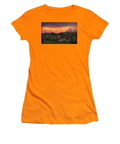 Women's T-Shirt (Athletic Fit) featuring the photograph Colorful Desert Skies At Sunset  by Saija Lehtonen