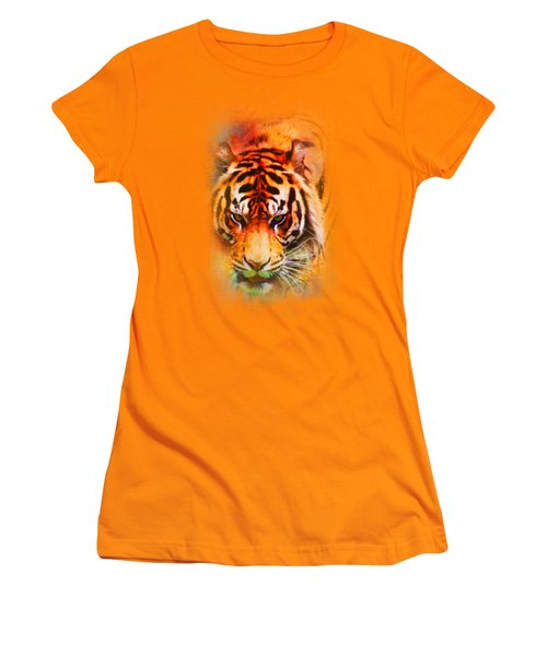 Colorful Expressions Tiger Women's T-Shirt (Junior Cut) by Jai Johnson