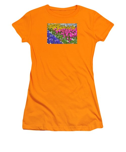 Colorful Flowers Women's T-Shirt (Junior Cut) by Nadia Sanowar