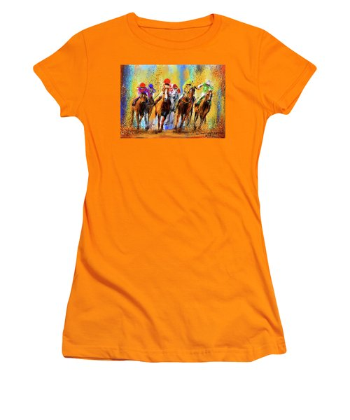 Colorful Horse Racing Impressionist Paintings Women's T-Shirt (Athletic Fit)