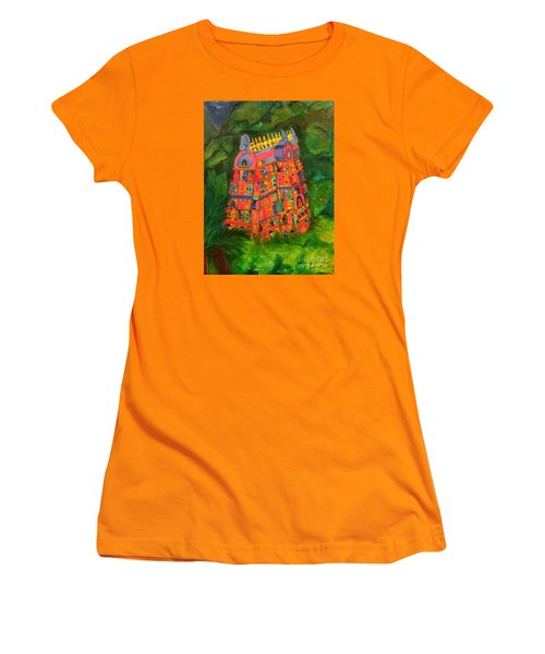 Women's T-Shirt (Junior Cut) featuring the painting Colorful Temple Gopuram by Brindha Naveen