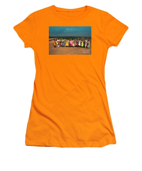 Women's T-Shirt (Junior Cut) featuring the photograph Colors And Faces Of The Masai Mara by Karen Lewis