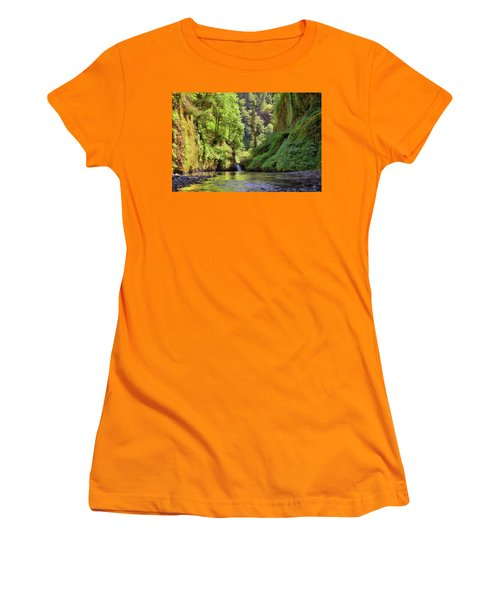 Columbia Gorge Waterfall In Summer Women's T-Shirt (Athletic Fit)