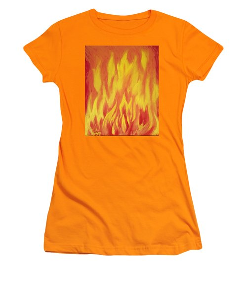 Women's T-Shirt (Junior Cut) featuring the painting Consuming Fire by Antonio Romero