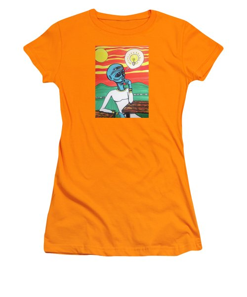 Women's T-Shirt (Junior Cut) featuring the painting Contemplative Alien by Similar Alien