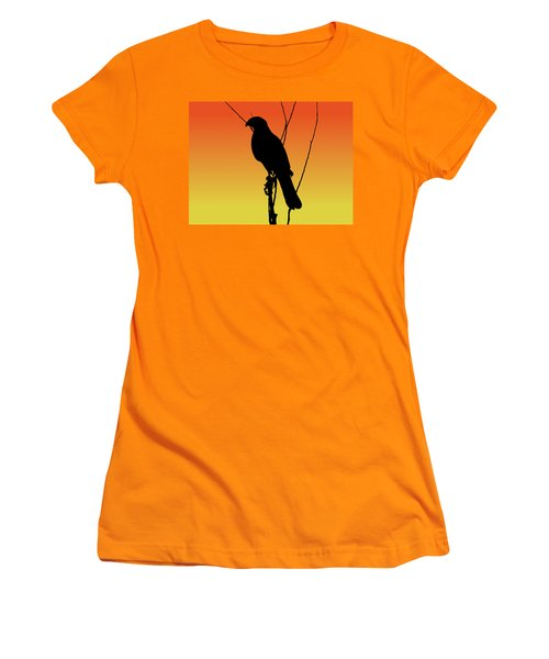 Coopers Hawk Silhouette At Sunset Women's T-Shirt (Athletic Fit)