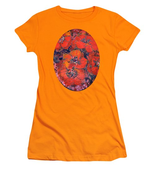 Coral Poppies Women's T-Shirt (Athletic Fit)