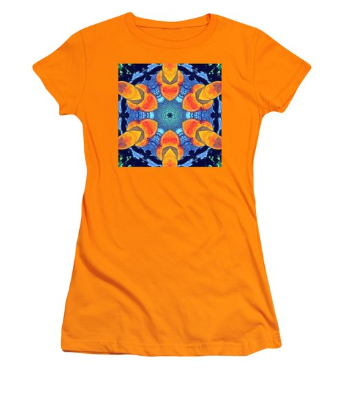Women's T-Shirt (Athletic Fit) featuring the painting Cosmic Fluid by Derek Gedney
