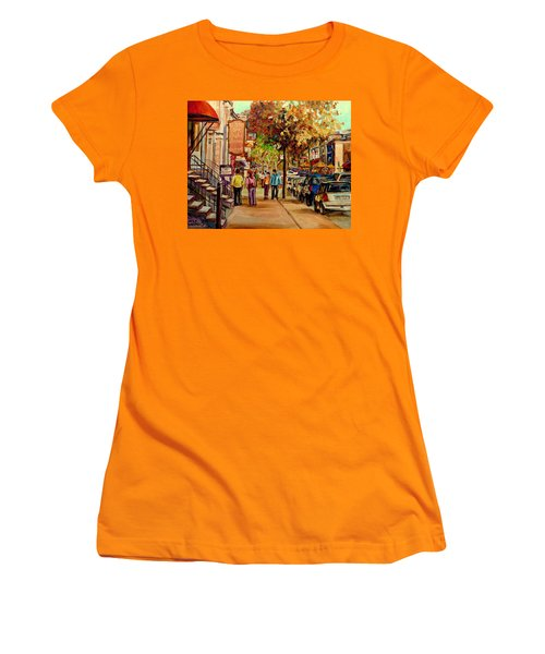 Women's T-Shirt (Junior Cut) featuring the painting Crescent Street Montreal by Carole Spandau