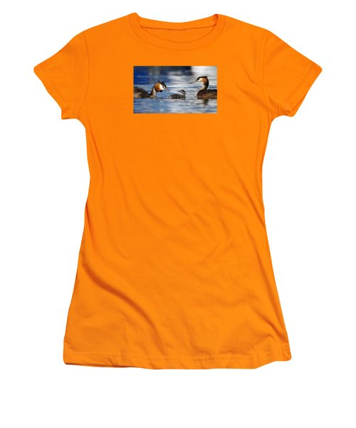 Crested Grebe, Podiceps Cristatus, Ducks Family Women's T-Shirt (Athletic Fit)