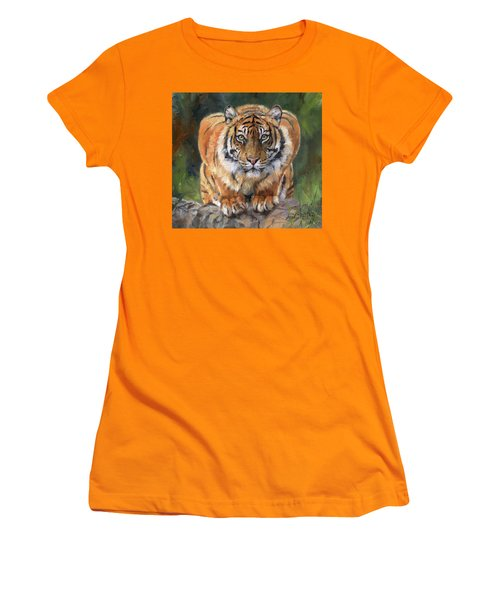 Women's T-Shirt (Junior Cut) featuring the painting Crouching Tiger by David Stribbling
