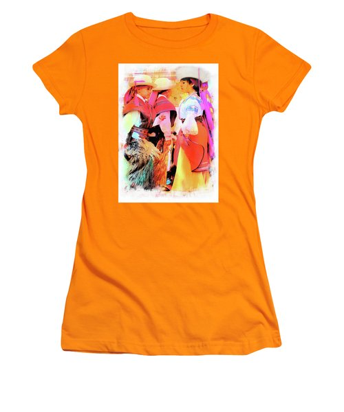 Women's T-Shirt (Junior Cut) featuring the photograph Cuenca Kids 884 by Al Bourassa