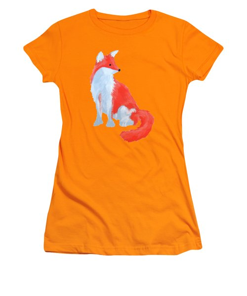 Cute Fox With Fluffy Tail Women's T-Shirt (Athletic Fit)