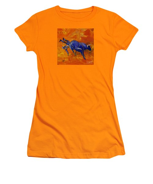 Women's T-Shirt (Junior Cut) featuring the painting Danny At The Rodeo by Janice Rae Pariza