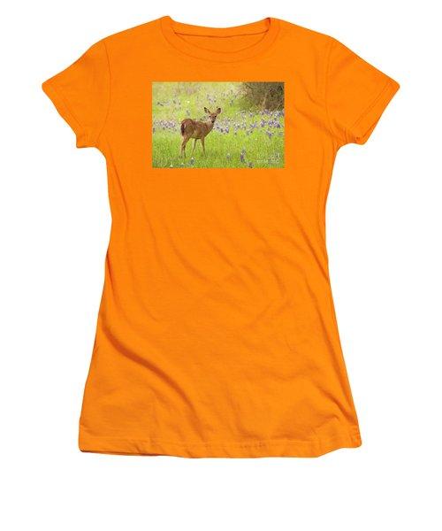 Deer In The Bluebonnets Women's T-Shirt (Athletic Fit)