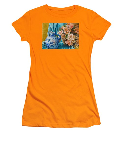 Women's T-Shirt (Athletic Fit) featuring the painting Delft Pitcher With Flowers by Marlene Book