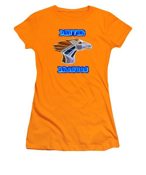 Women's T-Shirt (Junior Cut) featuring the photograph Denver Broncos 2 by Shane Bechler
