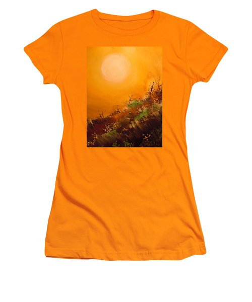 Women's T-Shirt (Junior Cut) featuring the painting Hot Desert  Evening  by Dan Whittemore