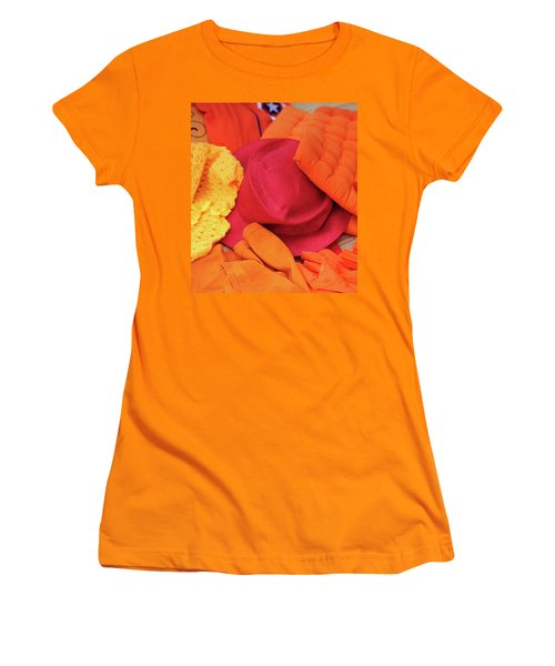 Women's T-Shirt (Junior Cut) featuring the photograph Display Of Orange And Red Clothing by Jenny Rainbow