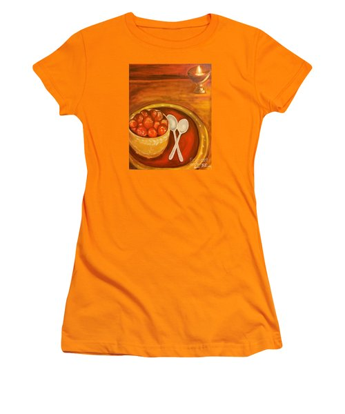 Women's T-Shirt (Junior Cut) featuring the painting Diwali Sweets by Brindha Naveen