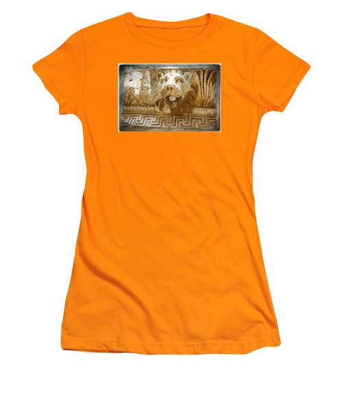 Do-00313 Lion Water Feature Women's T-Shirt (Athletic Fit)