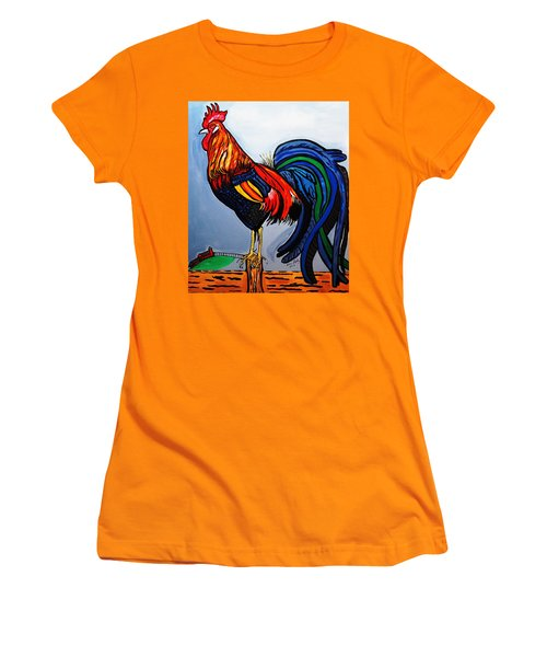 Doodle  Dum  Rooster Women's T-Shirt (Athletic Fit)