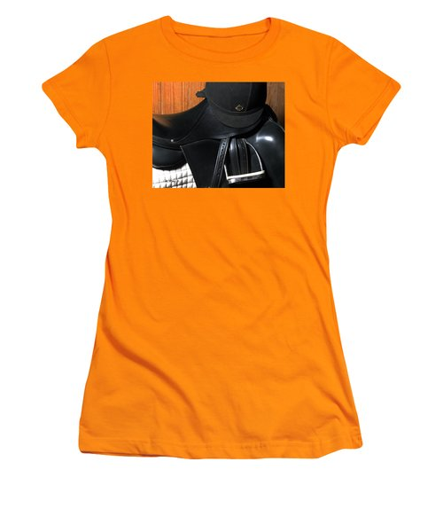 Women's T-Shirt (Junior Cut) featuring the painting Drassage Ready by Roena King