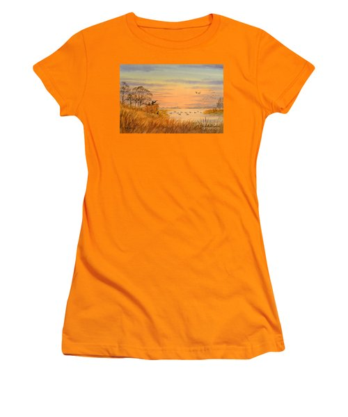 Women's T-Shirt (Athletic Fit) featuring the painting Duck Hunting Calls by Bill Holkham