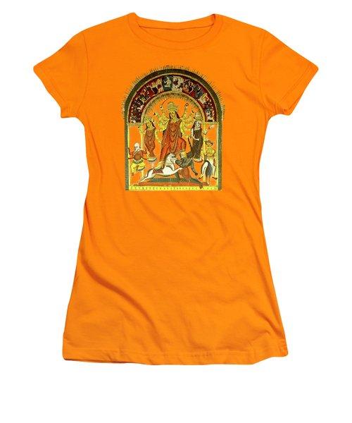 Women's T-Shirt (Junior Cut) featuring the digital art Durga by Asok Mukhopadhyay