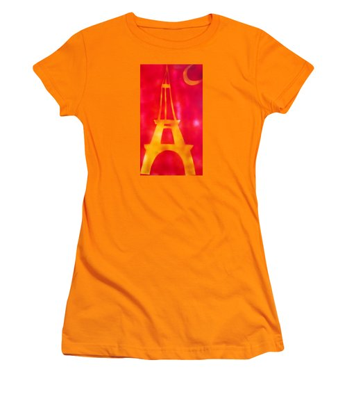 Women's T-Shirt (Junior Cut) featuring the painting Eiffel Tower Yellow Glowing by Don Koester