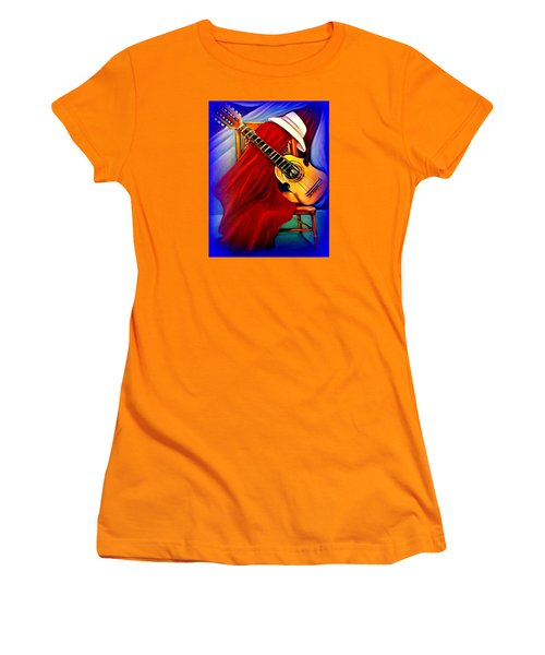 Women's T-Shirt (Junior Cut) featuring the painting El Cuatro De Papi by Yolanda Rodriguez