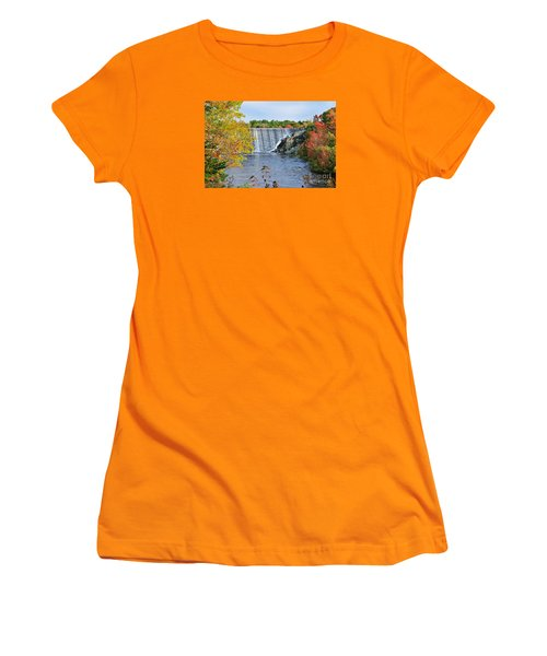 Women's T-Shirt (Junior Cut) featuring the photograph Ellsworth, Maine Dam by Debbie Stahre