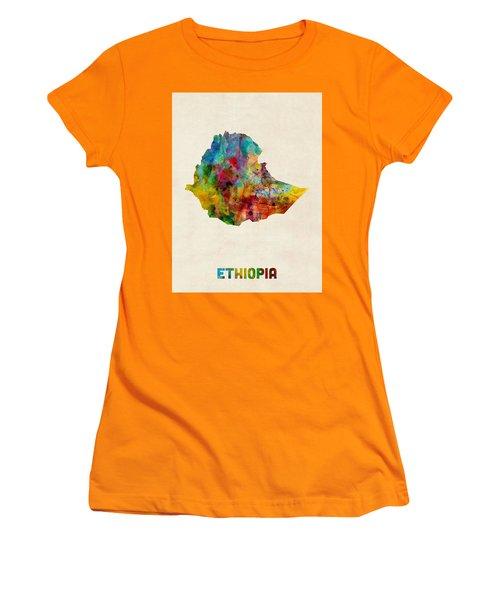 Women's T-Shirt (Junior Cut) featuring the digital art Ethiopia Watercolor Map by Michael Tompsett
