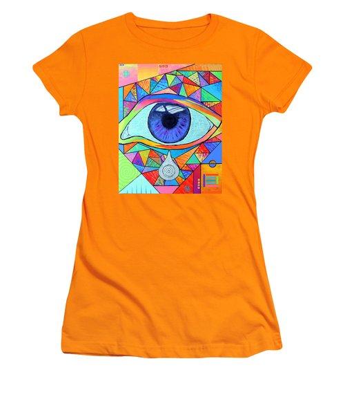 Eye With Silver Tear Women's T-Shirt (Junior Cut) by Jeremy Aiyadurai
