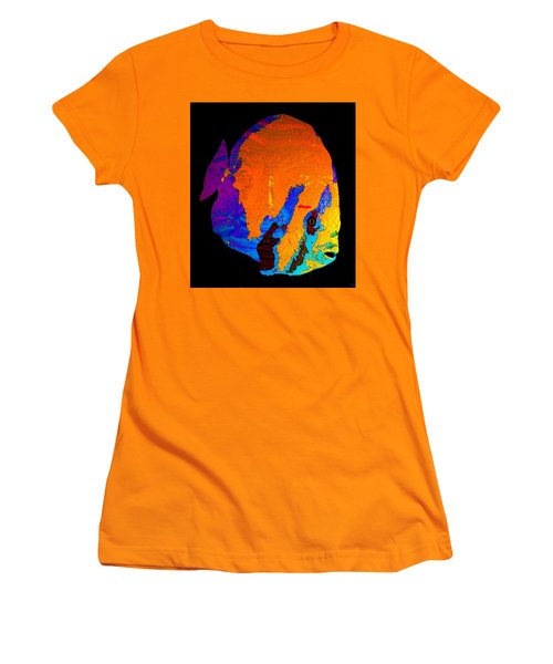 Women's T-Shirt (Junior Cut) featuring the painting Facing The Fish by David Lee Thompson