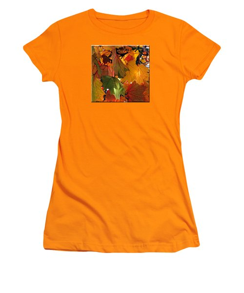 Fall Leaves Women's T-Shirt (Junior Cut) by Mikki Cucuzzo