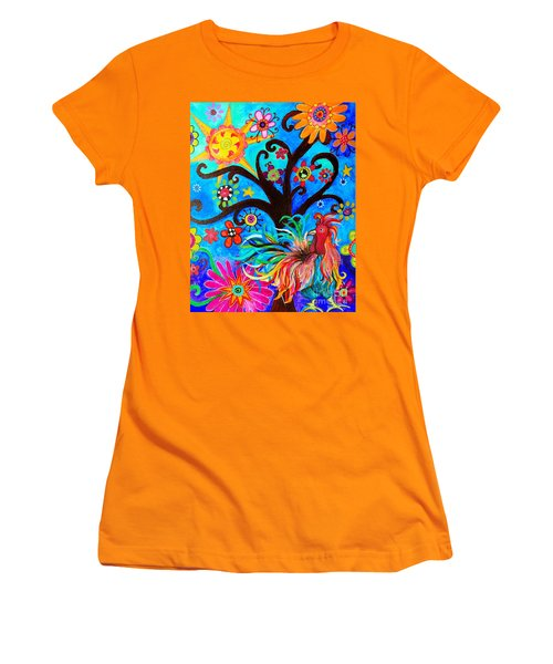Women's T-Shirt (Athletic Fit) featuring the painting Family And New Traditions by Pristine Cartera Turkus