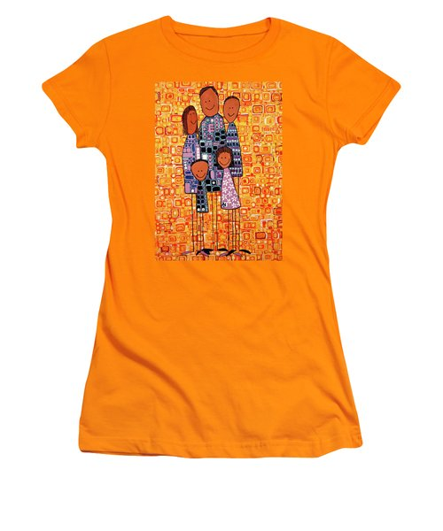 Women's T-Shirt (Junior Cut) featuring the painting Family Portrait by Donna Howard