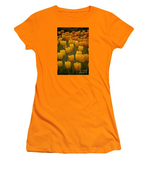 Women's T-Shirt (Junior Cut) featuring the photograph Fine Lines In Yellow Tulips by Michael Flood
