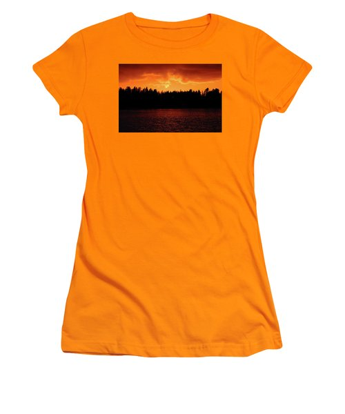 Fire In The Sky Women's T-Shirt (Junior Cut) by Teemu Tretjakov