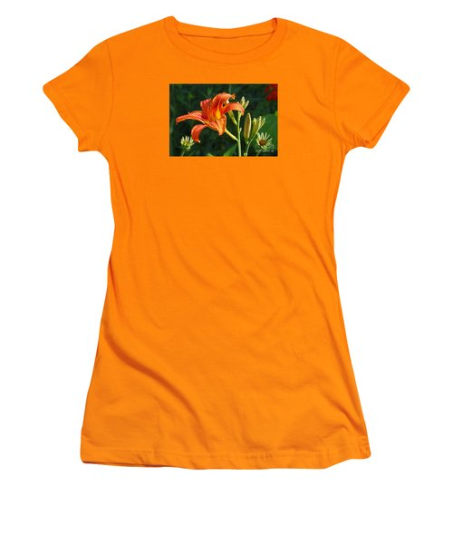 First Flower On This Lily Plant Women's T-Shirt (Junior Cut) by Steve Augustin