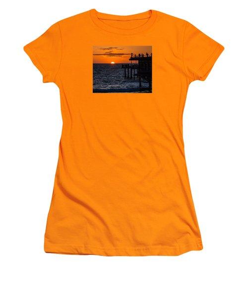 Fishing At Twilight Women's T-Shirt (Junior Cut) by Ed Clark