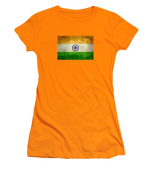 Flag Of India Retro Vintage Version Women's T-Shirt (Junior Cut) by Bruce Stanfield