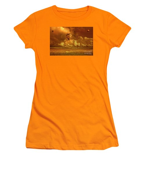 Women's T-Shirt (Junior Cut) featuring the photograph Flaming Sky by Charuhas Images