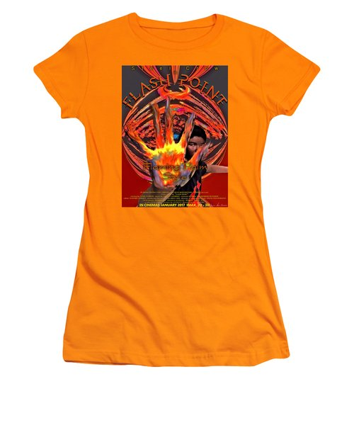 Women's T-Shirt (Athletic Fit) featuring the digital art Flash Point by Iowan Stone-Flowers