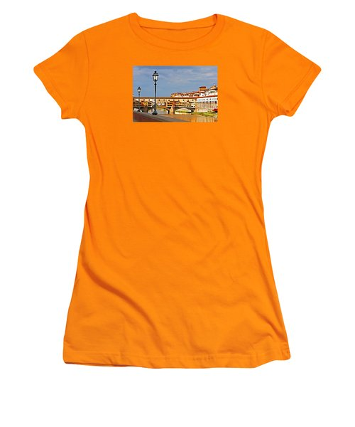 Women's T-Shirt (Junior Cut) featuring the photograph Florence Arno River View by Dennis Cox WorldViews