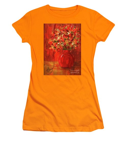 Women's T-Shirt (Junior Cut) featuring the painting Florists Red by P J Lewis